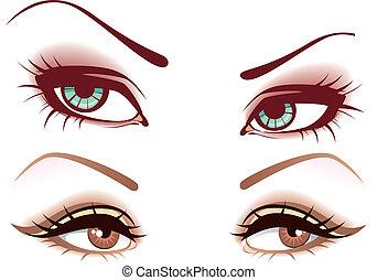 conjunto, de, ojos