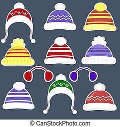 conjunto, de, once, pegatinas, de, vario, sombreros, para, niños y niñas, en, tiempo frío, o, para, deportes, en, un, blanco, stroke., ropa, para, invierno, y, autumn., plano, estilo, vector