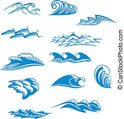 conjunto, de, onda, símbolos