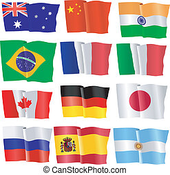 conjunto, de, ondulación, banderas