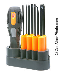 conjunto, de, orange-black, destornilladores, con, pedacitos