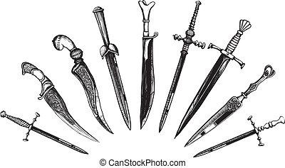 conjunto, de, oriental, y, europeo, dagas