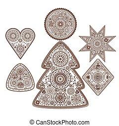 conjunto, de, ornamental, elementos