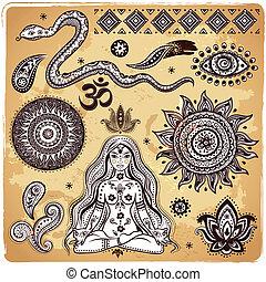 conjunto, de, ornamental, indio, elementos, y, símbolos