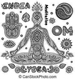 conjunto, de, ornamental, indio, símbolos