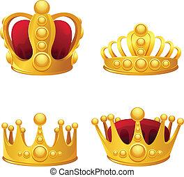conjunto, de, oro, coronas, isolated.