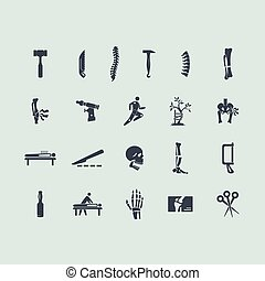 conjunto, de, ortopedia, iconos