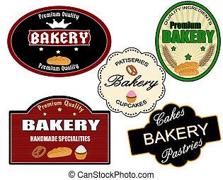 conjunto, de, panadería, etiqueta