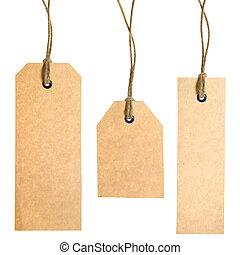 conjunto, de, papel, etiquetas