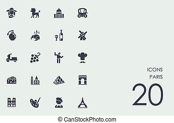 conjunto, de, parís, iconos