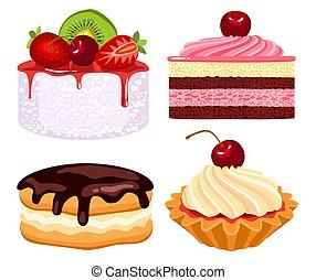 conjunto, de, pasteles, con, crema