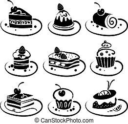 conjunto, de, pasteles