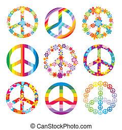 conjunto, de, paz, símbolos