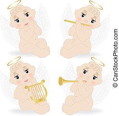 conjunto, de, pequeño, ángeles