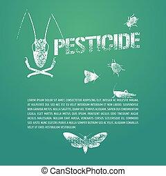 conjunto, de, peste, insectos, y, plantilla, bodycopy, vector, ilustración