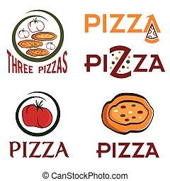 conjunto, de, pizzas, emblemas, concepto, vector, diseño, plantilla