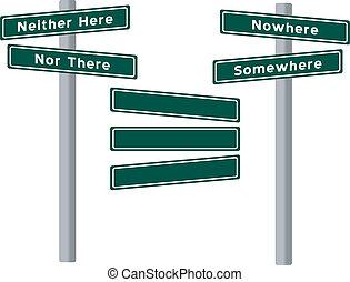 conjunto, de, placas con los nombres de las calles