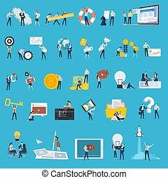 conjunto, de, plano, diseño, estilo, gente, iconos
