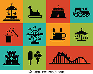 conjunto, de, plano, diseño, parque de atracciones, iconos