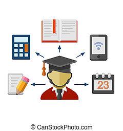 conjunto, de, plano, estilo, iconos de concepto, para, education., vector