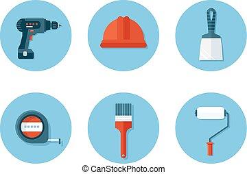 conjunto, de, plano, iconos, con, construcción, herramientas