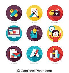 conjunto, de, plano, iconos, para, diseño