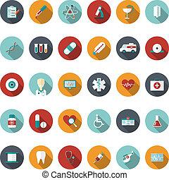 conjunto, de, plano, médico, icons., vector, ilustración