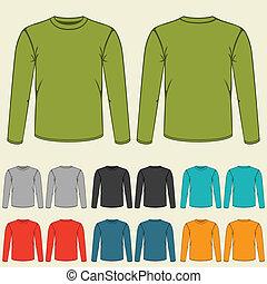 conjunto, de, plantillas, coloreado, sweatshirts, para, men.