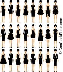 conjunto, de, poco, negro, vestidos