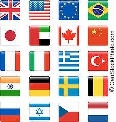 conjunto, de, popular, país, flags., brillante, cuadrado, vector, icono, conjunto