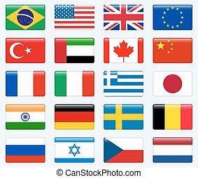 conjunto, de, popular, país, flags., brillante, rectángulo, vector, icono, set.