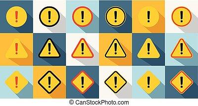conjunto, de, precaución, icons.