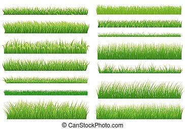 conjunto, de, primavera, hierba verde, horizontal, borders., hierba verde, colección, blanco, plano de fondo, para, su, diseño