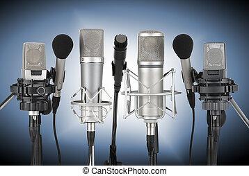 conjunto, de, profesional, micrófonos