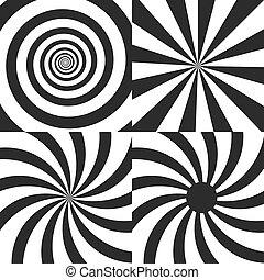 conjunto, de, psicodélico, espiral, con, radial, rayos, giro, torcido, cómico, efecto, vórtice, backgrounds., vector, illustration., diseño, elements.
