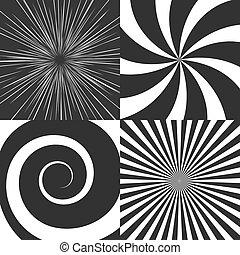 conjunto, de, psicodélico, espiral