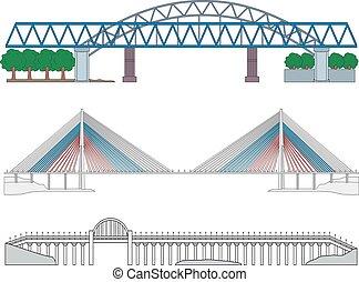 conjunto, de, puentes
