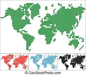conjunto, de, punto, mapa del mundo