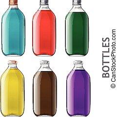 conjunto, de, realista, botellas