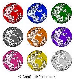 conjunto, de, red, globos