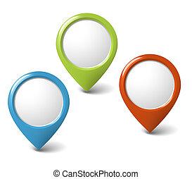 conjunto, de, redondo, 3d, indicadores, con, lugar, para,...