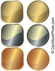 conjunto, de, redondo, y, cuadrado, metal, mostradores