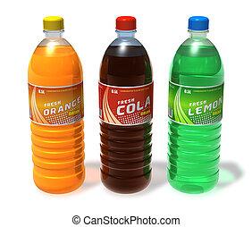 conjunto, de, refrescante, bebidas