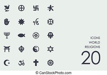 conjunto, de, religiones mundo, iconos