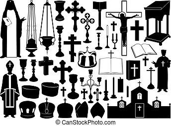 conjunto, de, religioso, elementos