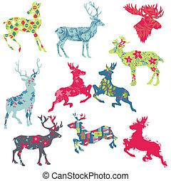 conjunto, de, reno, navidad, siluetas, -, para, su, diseño, o, álbum de recortes, -, en, vector