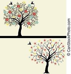 conjunto, de, resumen, árbol, siluetas