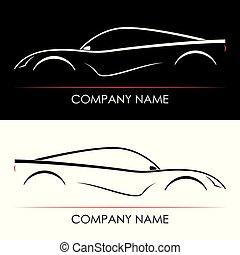 conjunto, de, resumen, coche deportivo, silhouettes.