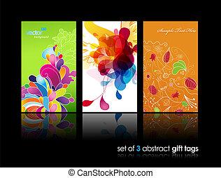conjunto, de, resumen, colorido, salpicadura, y, flor, regalo, tarjetas, con, reflexión.