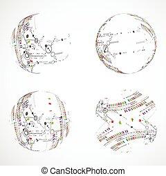 conjunto, de, resumen, esfera